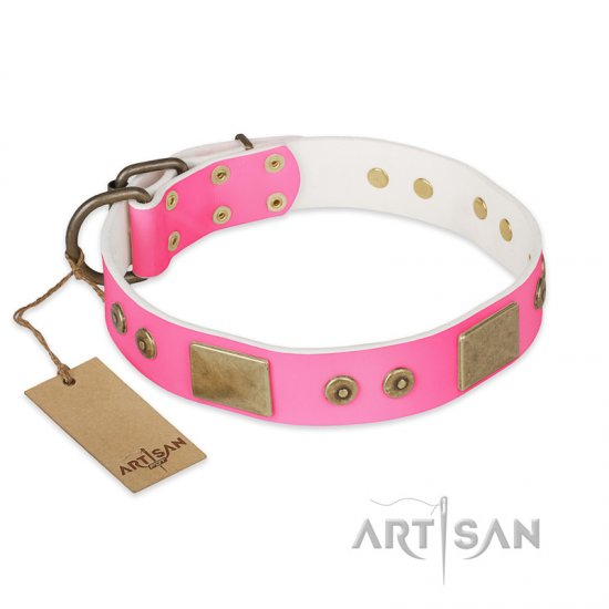"""Pink World"" FDT Artisan Pink Leather Amstaff Collar with Old Bronze Look Plates and Studs"