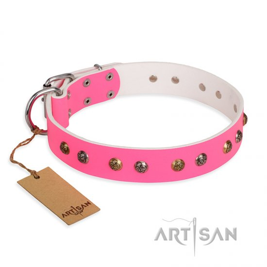 """Sheer love"" Pink Leather FDT Artisan Amstaff Collar with Old-look Hemisphere Studs"