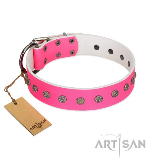 """Pink Blooming"" FDT Artisan Pink Leather Amstaff Collar with Silver-Like Flowers"