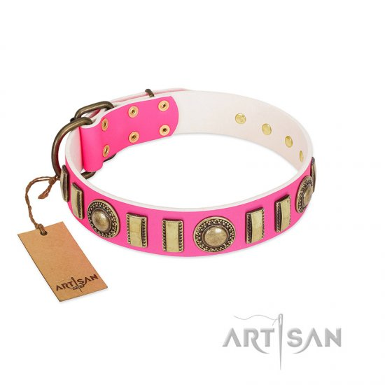 """La Femme"" FDT Artisan Pink Leather Amstaff Collar with Ornate Brooches and Small Plates"