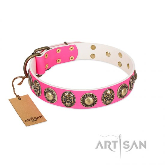 """Two Extremes"" FDT Artisan Pink Leather Amstaff Collar with Elegant Conchos and Medallions with Skulls"