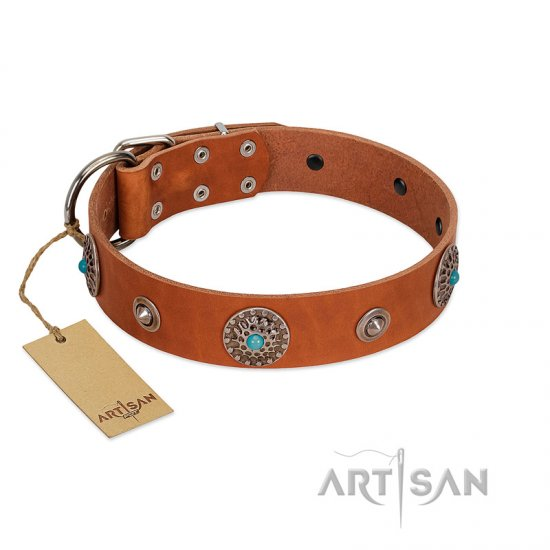 """Marine Antiques"" Handmade FDT Artisan Tan Leather Amstaff Collar with Blue Stones"