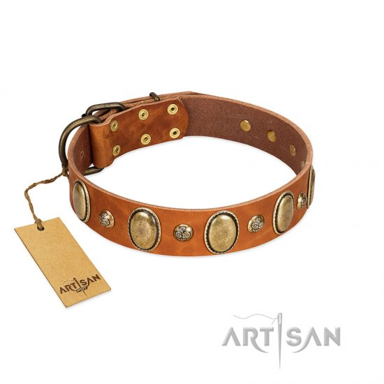 """Venus Breath"" FDT Artisan Tan Leather Amstaff Collar with Vintage Looking Oval and Round Studs"