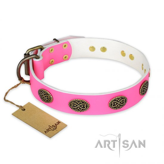 """Forever Fashion"" FDT Artisan Leather Amstaff Collar with Old Look Plates - 1 1/2 inch (40 mm) wide"