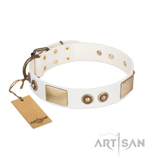"""Noble Impulse"" FDT Artisan White Leather Amstaff Collar Adorned with Antique Plates and Studs - Click Image to Close"