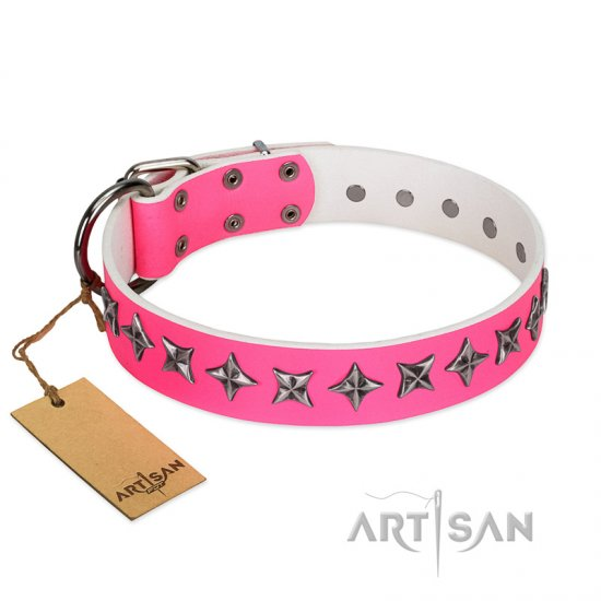 """Star Dreams"" FDT Artisan Pink Leather Amstaff Collar with Silver-like Stars"
