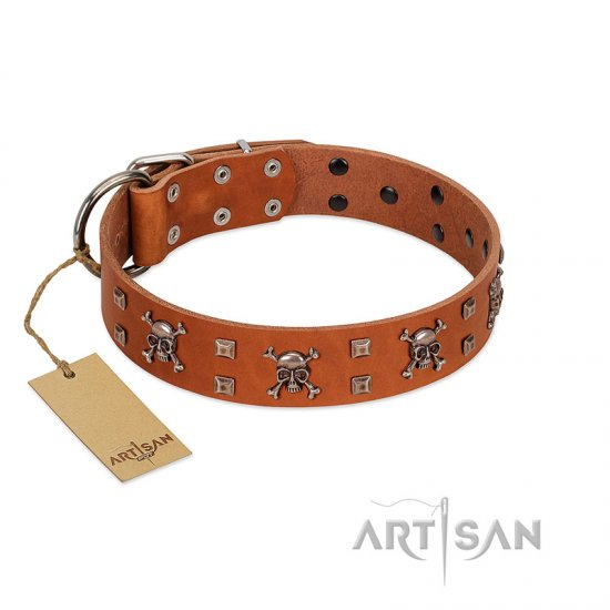 """Rebellious Nature"" FDT Artisan Tan Leather Amstaff Collar Embellished with Crossbones and Square Studs"