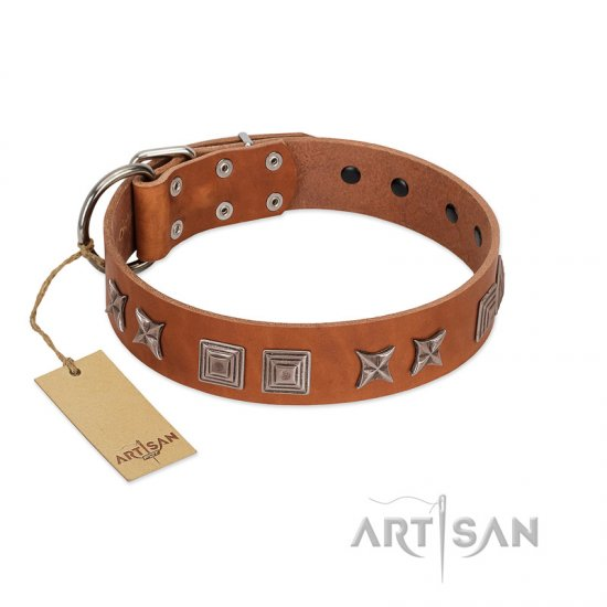 """Antique Figures"" FDT Artisan Tan Leather Amstaff Collar with Silver-like Engraved Plates"