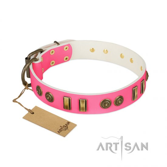 """Pink Amulet"" FDT Artisan Leather Amstaff Collar with Old Bronze-like Plates and Circles"