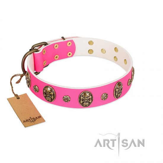 """Fashion Show"" FDT Artisan Pink Leather Amstaff Collar with Old Bronze-like Skulls and Studs"