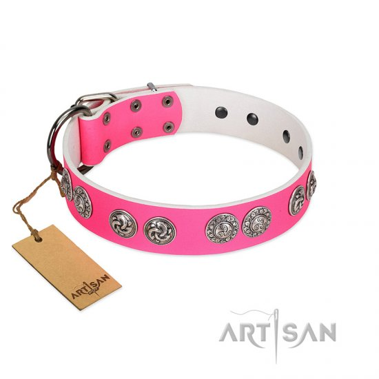 """Periapt of Power"" FDT Artisan Pink Leather Amstaff Collar with Chrome Plated Medallions"