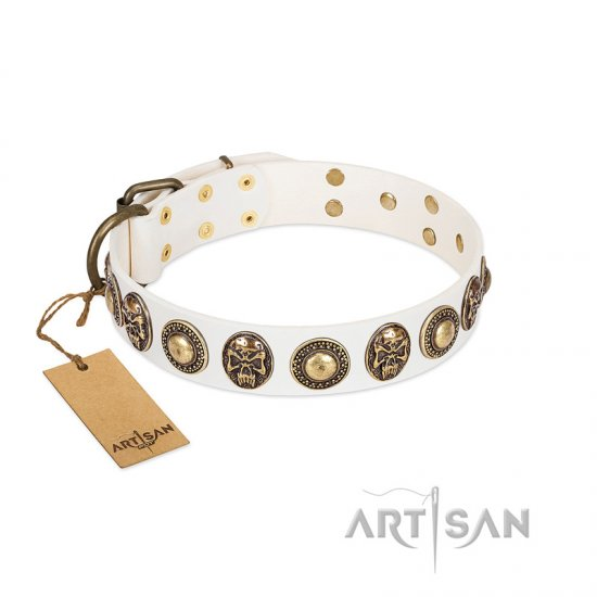 """White Delight"" FDT Artisan White Leather Amstaff Collar with Exclusive Embelishments"