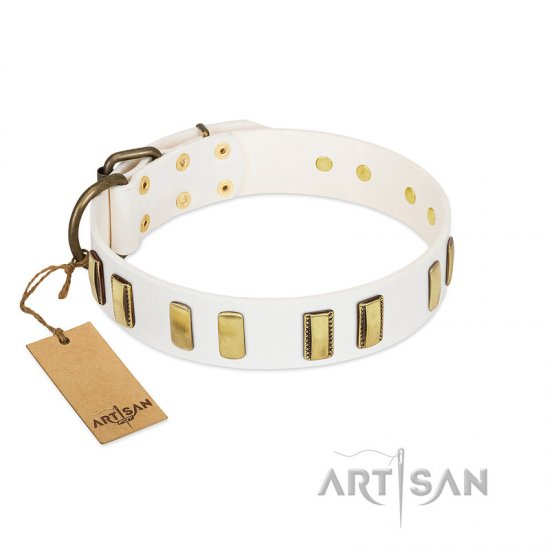 """Glorious Light"" FDT Artisan White Leather Amstaff Collar with Old Bronze-like Plates"