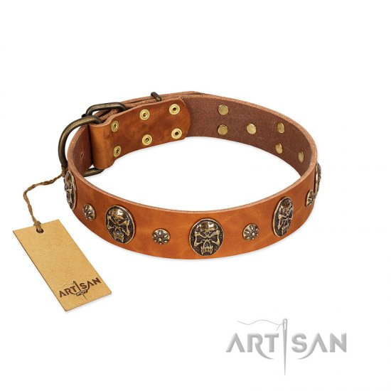 """Rockstar"" FDT Artisan Tan Leather Amstaff Collar with Engraved Studs and Medallions"