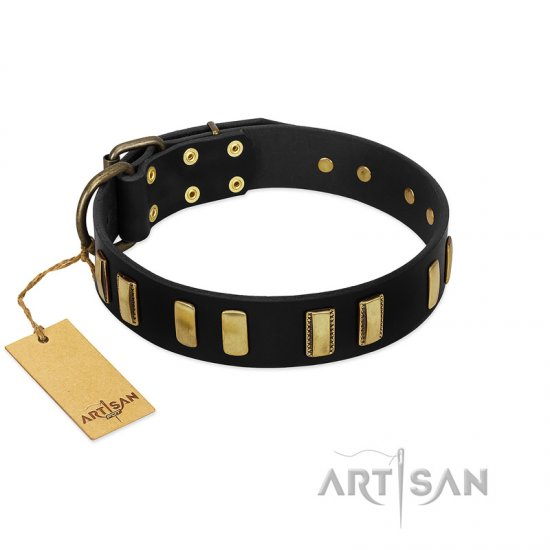 """Glorious Night"" FDT Artisan Decorated Black Leather Amstaff Collar"