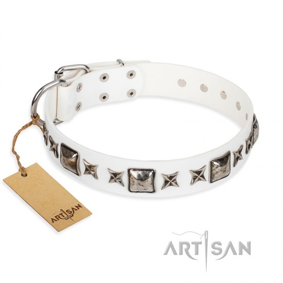 """Intergalactic Travelling"" FDT Artisan Handcrafted White Leather Amstaff Collar"