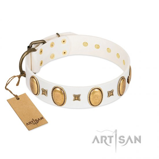 """Chichi Pearl"" Designer Handmade FDT Artisan White Leather Amstaff Collar with Ovals and Studs"