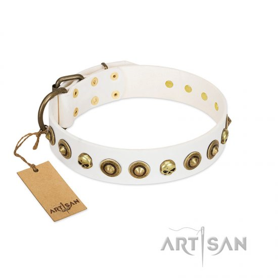 """Wondrous Venture"" FDT Artisan White Leather Amstaff Collar with Skulls and Brooches"