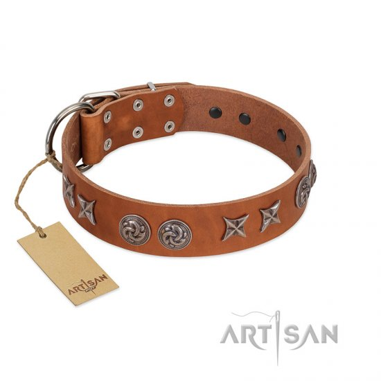 """Brave Spirit"" Handmade FDT Artisan Designer Tan Leather Amstaff Collar with Shields"