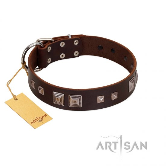 """Object of Virtu"" FDT Artisan Brown Leather Amstaff Collar with Old Silver-like Square Studs and Pyramids"