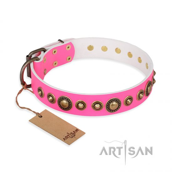 """Pink Gloss"" FDT Artisan Leather Amstaff Collar with Old-Bronze Plated Circles and Studs"