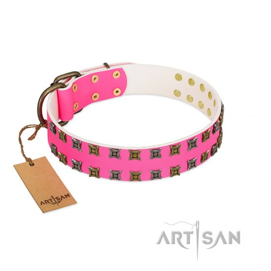 """Glamy Solo"" FDT Artisan Pink Leather Amstaff Collar with Extraordinary Studs"