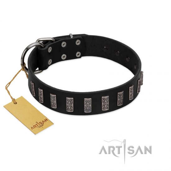 """Black Prince"" Handmade FDT Artisan Black Leather Amstaff Collar with Silver-Like Adornments"