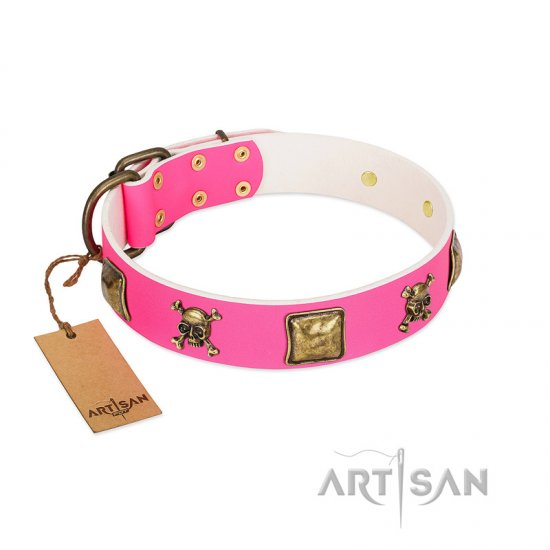 """Wild and Free"" FDT Artisan Pink Leather Amstaff Collar with Skulls and Crossbones Combined with Squares - Click Image to Close"