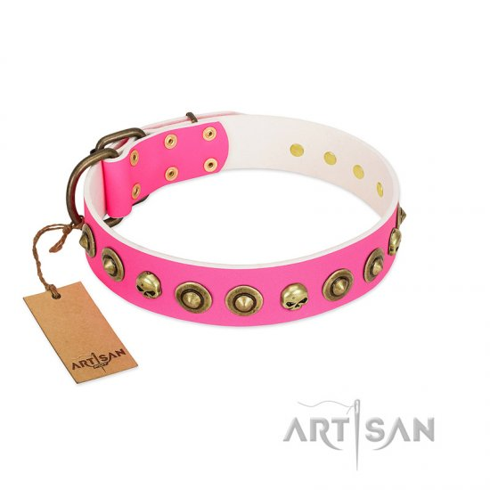 """Pawty Time"" FDT Artisan Pink Leather Amstaff Collar with Decorative Skulls and Brooches"