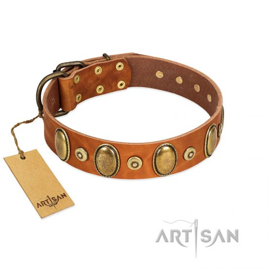 """Crystal Sand"" FDT Artisan Tan Leather Amstaff Collar with Vintage Looking Oval and Round Studs"