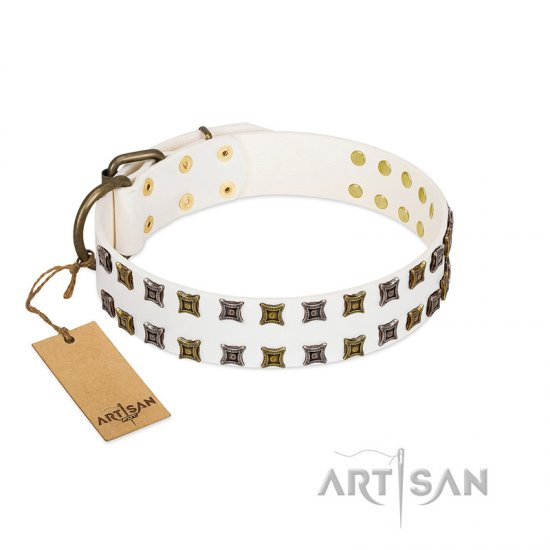 """Ice Peak"" FDT Artisan White Leather Amstaff Collar with Silvery and Goldish Decorations"