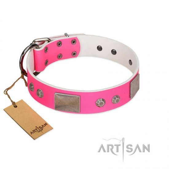 """Pink Blush"" Premium Quality FDT Artisan Pink Designer Amstaff Collar with Plates and Studs"