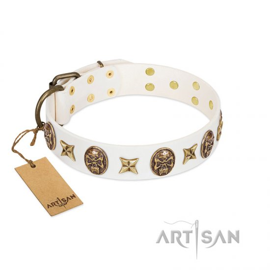 """Fads and Fancies"" FDT Artisan White Leather Amstaff Collar with Stars and Skulls - Click Image to Close"