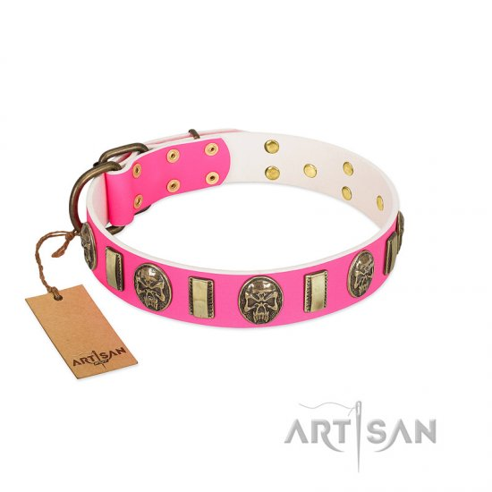 """Perilous Beauty"" Pink FDT Artisan Leather Amstaff Collar with Small Plates and Skulls"