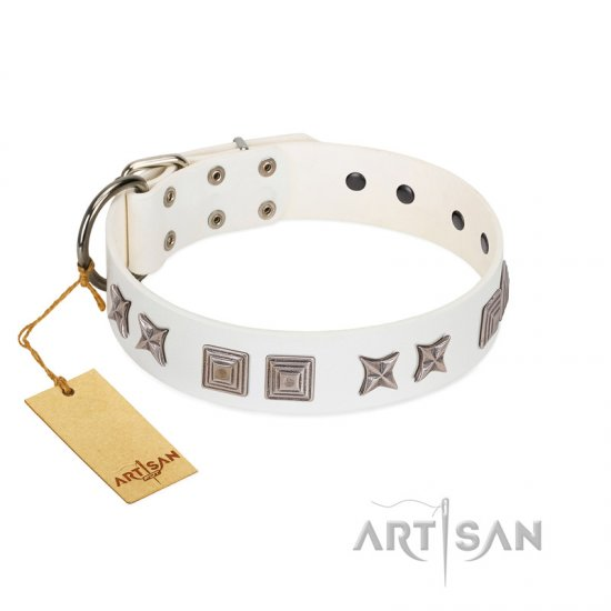 """Mister Perfection"" Designer Handmade FDT Artisan White Leather Amstaff Collar"
