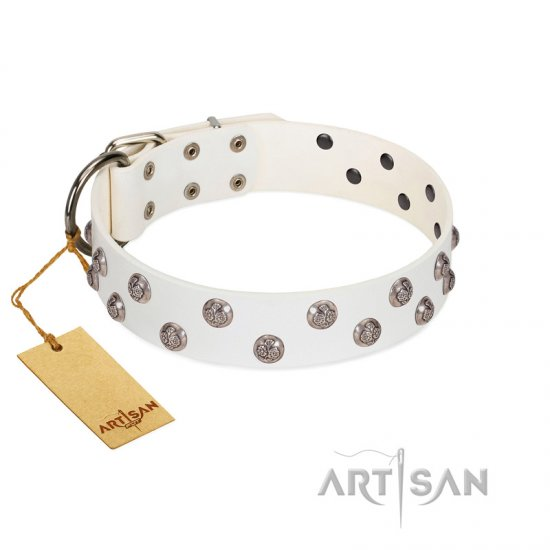 """Wild Flora"" FDT Artisan White Leather Amstaff Collar with Silver-like Engraved Studs"
