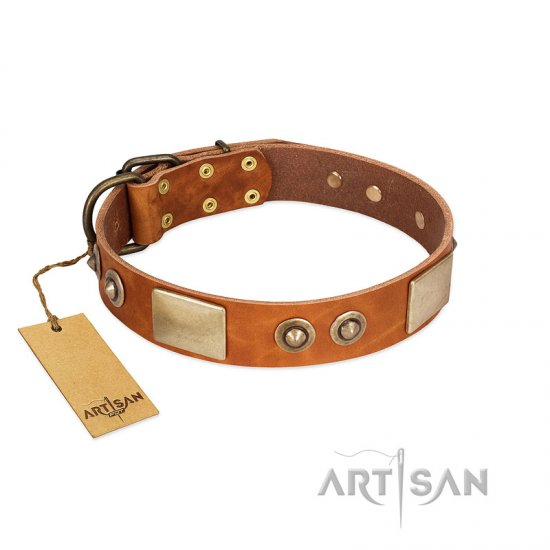 """Perfect Blend"" FDT Artisan Tan Leather Amstaff Collar 1 1/2 inch (40 mm) wide"