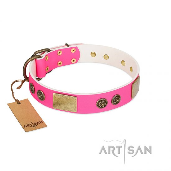 """Queen's Whim"" FDT Artisan Fancy Walking Pink Leather Amstaff Collar Adorned with Old Bronze-like Plates and Studs"