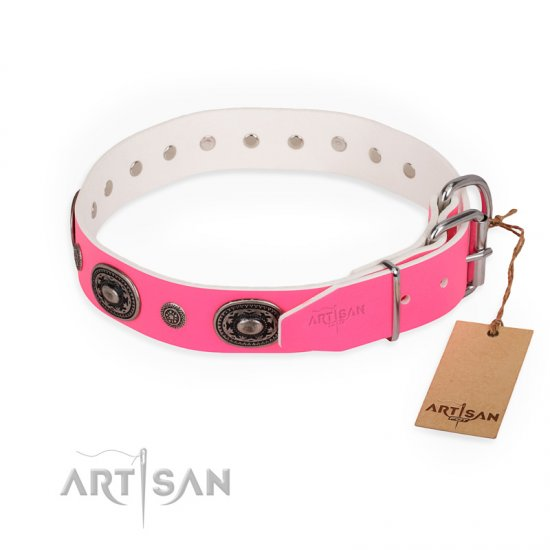 """Flavor of Strawberry"" FDT Artisan Flashy Pink Leather Amstaff Collar"