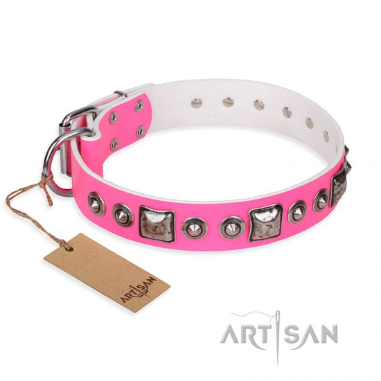 """Pink Dream"" FDT Artisan Leather Amstaff Collar with Silvery Decorations"