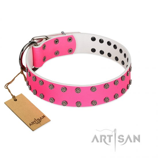 """Pink Fashion"" Designer FDT Artisan Pink Leather Amstaff Collar with Silver-Like Studs"