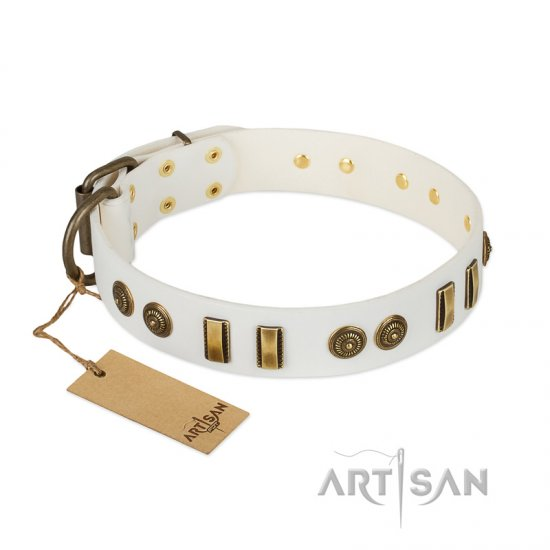 """Midsummer Snow"" FDT Artisan White Leather Amstaff Collar with Old Bronze-like Plates and Circles"
