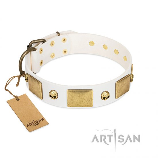 """Inspiration"" FDT Artisan White Leather Amstaff Collar with Antiqued Skulls and Plates"