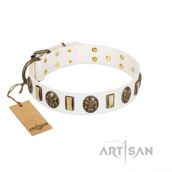 """Mystery of Times"" FDT Artisan White Leather Amstaff Collar with Plates and Medallions with Skulls"