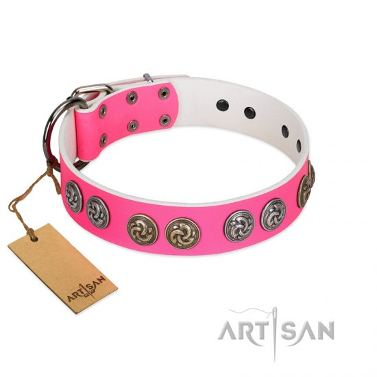 """Pink Butterfly"" Designer FDT Artisan Pink Leather Amstaff Collar with Round Studs"