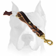 Amstaff Short Braided Pure Leather Pull Tab Dog Leash