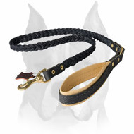 Amstaff Braided Leather Dog Leash with Soft Handle
