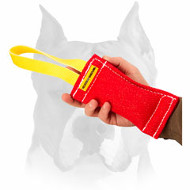 French Linen Lightweight Bite Tug with Handle for Amstaff Puppy Training