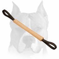 Amstaff Hard Leather Bite Tug with 2 Nylon Handles for Training
