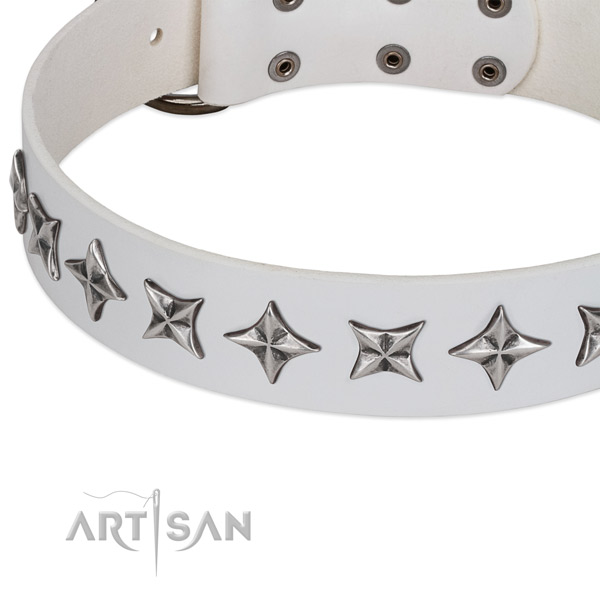 Easy wearing embellished dog collar of durable genuine leather